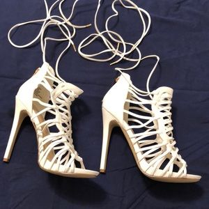 White strap up heeled sandals from Shoe Dazzle.